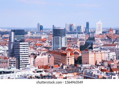 Vienna, Austria. Aerial view with the skyscraper district.