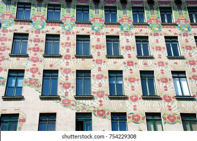 VIENNA, AUSTRIA - APR 22, 2011: The Majolica House, Majolikahaus, with its floral ornamentation near Naschmarkt in Vienna Austria famous example of Jugendstil art nouveau buildt by Otto Wagner in 1899