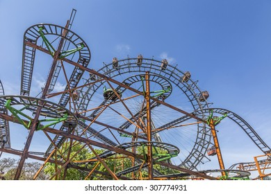 VIENNA, AUSTRIA - APR 25, 2015: A view of the Wiener Riesenrad in Prater from outside the park. The big wheel was constructed in 1897 by the English engineer  Walter Bassett