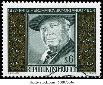 Vienna, Austria - Apr. 29, 1977: Fritz Hermanovsky-Orlando(1877-1954), Austrian poet and artist. Stamp issued in 1977 by Austria Post.