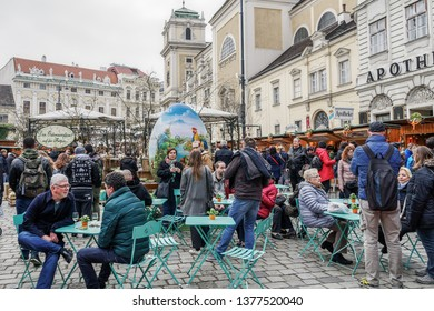 Vienna, Austria - April 14 2019: Easter Market Altwiener Freyung Ostermarkt. Wien, Osterreich street market, where local vendors from Austrian regions sell decorative Easter eggs, food & drinks.