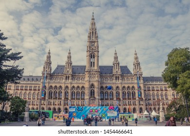 VIENNA, AUSTRIA, April, 2015: Vienna's Town Hall (Rathaus) at daytime. preparing for the concert, Vienna. Austria.