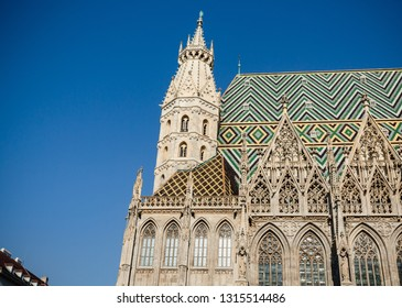 Vienna, Austria, April 2017: Details from the roof and tower of the Stephansdom -St Stephans's church, one of the main touristic destination of Vienna.