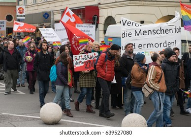 Vienna, Austria - April 21, 2017: Protest demonstration for LGBT rights in Russia
