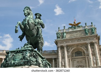VIENNA, AUSTRIA - APRIL 22, 2010: Statue of Prince Eugene in front of Hofburg Palace