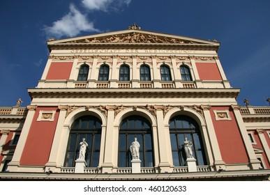 VIENNA, AUSTRIA - APRIL 22, 2010: Building of Gesellschaft der Musikfreunde (Society of Friends of the Music or Musikverein concert hall), Vienna, Austria