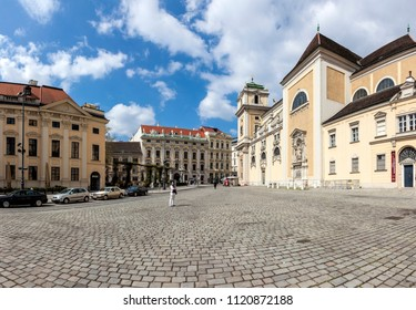 VIENNA, AUSTRIA - APRIL 22, 2015: Scottish Abbey on the square Freyung in the center of Vienna. In German language Schottenstift - is a Roman Catholic monastery founded in Vienna in 1155