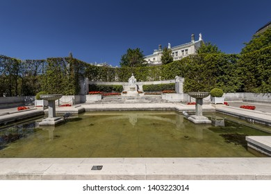 VIENNA, AUSTRIA - APRIL 22, 2019: Beautiful fountain with statue of Empress Elizabeth of Bavaria or Sissi on a sunny spring day in the center of town.