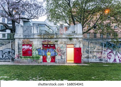 VIENNA, AUSTRIA - APRIL 22: illuminated restroom at the  Danube cycle path on April 22, 2009 in Vienna, Austria. The Cycle Path is about 365 kilometres long.