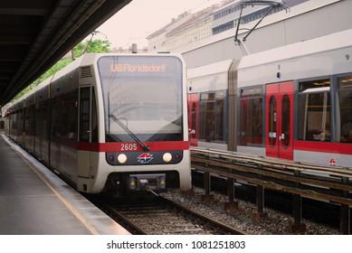 VIENNA, AUSTRIA - APRIL 26, 2018: The subway train arrives on the Taliastrasse station. Metro lne U6