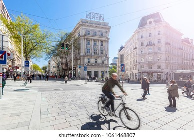VIENNA, AUSTRIA - APRIL 29, 2016: The new traffic-calmed area with precedence for pedestrians Mariahilfer Strasse Vienna. It is the largest and one of the most famous shopping streets of Austria.