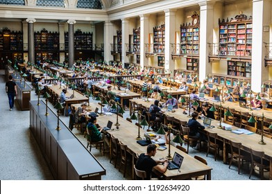 VIENNA, AUSTRIA - APRIL 29, 2017: Reading Room in the University Library in the city of Vienna, Austria