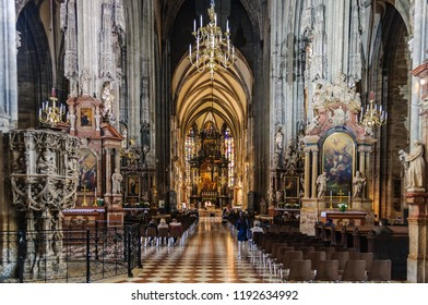 VIENNA, AUSTRIA - APRIL 29, 2017: Interior of Stephansdom in the city of Vienna, Austria