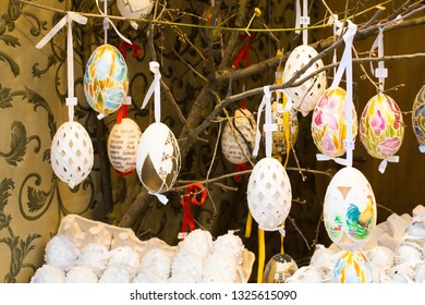Vienna, Austria - April 5, 2015: Colorful painted Easter eggs on the tree at the traditional European market