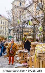 Vienna, Austria - April, 5, 2015: People at Freyung easter tradi