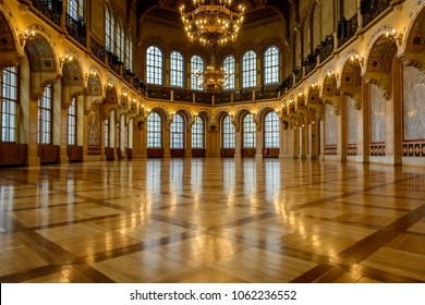 Vienna, Austria - April 5th 2018: the elegant ball room of the beautiful Palais Ferstel in Vienna.