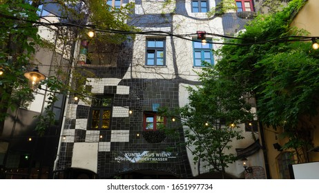 Vienna, Austria - Aug 19 2019: Kunst House Wien- Hundertwasser museum sign and colorful facade