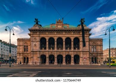 VIENNA, Austria - August 02, 2017: Facade of Vienna State Opera building, neo-Renaissance style architecture, front view