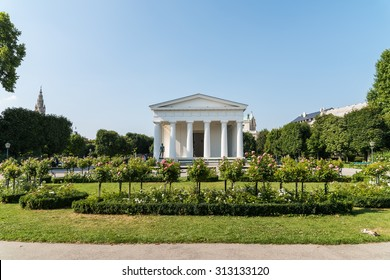 VIENNA, AUSTRIA - AUGUST 06, 2015: In Volksgarten Park (People's Garden) stands the neoclassical Theseus Temple completed in 1821 that was designed to house Antonio Canova's Theseus sculpture.