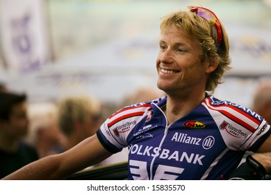 Vienna, Austria - August 1: The Rathauskriterium 2008 ends with a victory of Filippo Pozzato from Team Liquigas. Shown is Austrian rider Gerrit Glomser.