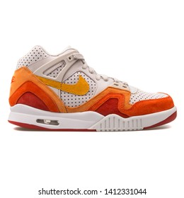 VIENNA, AUSTRIA - AUGUST 10, 2017: Nike Air Tech Challenge 2 QS white, orange and red sneaker on white background.