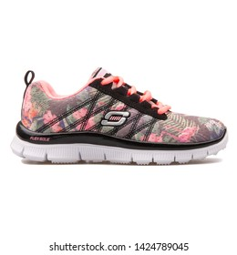 VIENNA, AUSTRIA - AUGUST 10, 2017: Skechers Skech Appeal Floral Bloom black and pink sneaker on white background.
