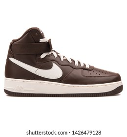 VIENNA, AUSTRIA - AUGUST 10, 2017: Nike Air Force 1 High Retro QS chocolate sneaker on white background.