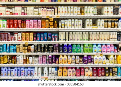 VIENNA, AUSTRIA - AUGUST 11, 2015: Shampoo Bottles For Sale On Supermarket Stand.