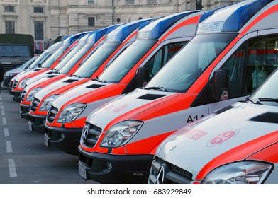 Vienna, Austria- August 11, 2016: Austrian ambulance in Vienna on August 11, 2016.