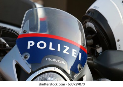 Vienna, Austria- August 11, 2016: Austrian police bike in Vienna on August 11, 2016.