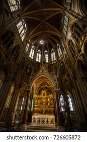 VIENNA, AUSTRIA - AUGUST 11, 2017: Interior of the Votive Church in Vienna. The church was consecrated in 1879 and is in Gothic revival style.