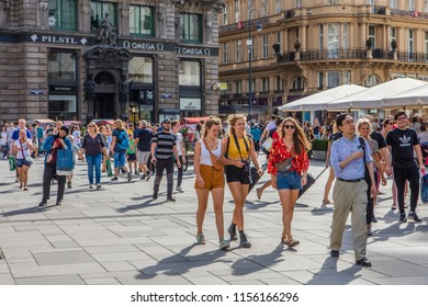 VIENNA, AUSTRIA - August 11 2018: crowded summer streets in the city center of Vienna, Austria.Vienna, Austria, Europe