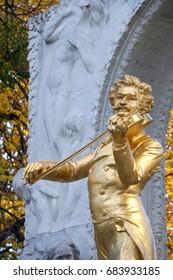 Vienna, Austria - August 12, 2016: Close up of Johann Strauss II Statue in Stadtpark, Vienna on August 12, 2016.