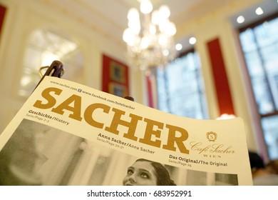 Vienna, Austria- August 12, 2016: The menu of Original Sachertorte at Hotel Sacher in Vienna on August 12, 2016.