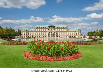 VIENNA, AUSTRIA - AUGUST 12 2018: Upper Belvedere palace - the Baroque palace complex was built as a summer residence for Prince Eugene of Savoy., completed in 1723, Vienna.