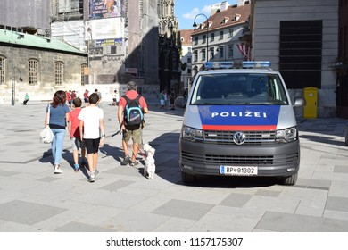 VIENNA, AUSTRIA - AUGUST 15, 2018: Austrian police car at Stephansplatz, the central historical square in Vienna.