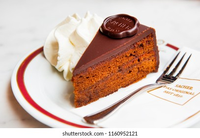 VIENNA, AUSTRIA- AUGUST 15, 2018: Original Sacher torte at Hotel Sacher in Vienna.