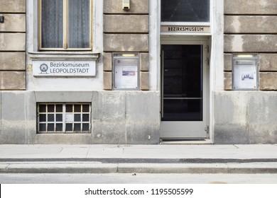 "VIENNA, AUSTRIA - AUGUST 15, 2018: Entrance of Bezirksmuseum Leopoldstadt (Eng. ""Leopoldstadt District Museum""). Leopoldstadt is the 2nd district of Vienna."