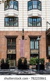 Vienna,  Austria - August 16, 2017: Facade of Hilton Vienna Plaza Hotel