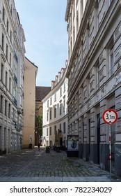 Vienna,  Austria - August 16, 2017: Parisergasse. It is a pedestrian street in the jewry of Vienna