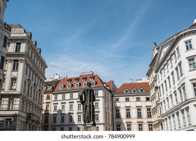 Vienna,  Austria - August 16, 2017: Lessing Denkmal statue in Judenplatz  in jewry district in historical city center of Vienna.