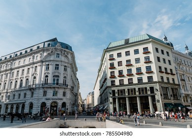 Vienna,  Austria - August 16, 2017: Michaelerplatz in Vienna with Looshaus designed by Adolf Loos on background