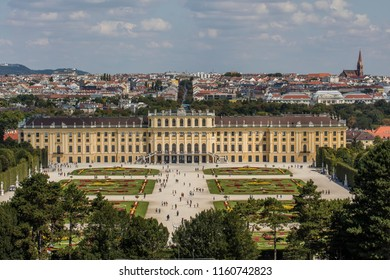 VIENNA, AUSTRIA, AUGUST 16,2018: People walking at the gardens of Schonbrunn Palace , a former imperial summer residence of Habsburg monarchs.