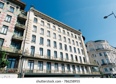 Vienna,  Austria - August 17, 2017: Majolikahaus, Majolica House apartment house designed by architect Otto Wagner in Secession Style.