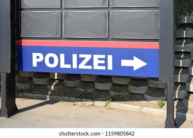 VIENNA, AUSTRIA - AUGUST 19, 2018: Direction sign for police station in Vienna
