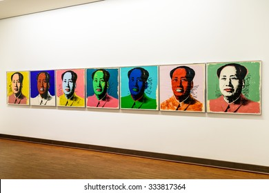 VIENNA, AUSTRIA - AUGUST 20, 2015: Andy Warhol Mao Tse-Tung Paintings At Albertina Museum In Vienna. Andy Warhol was an American artist who was a leading figure in visual art movement known as pop art