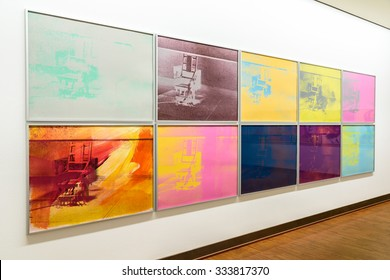 VIENNA, AUSTRIA - AUGUST 20, 2015: Andy Warhol Electric Chair Paintings At Albertina Museum. Andy Warhol was an American artist who was a leading figure in visual art movement known as pop art.