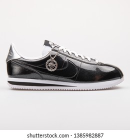 VIENNA, AUSTRIA - AUGUST 23, 2017: Nike Cortez Basic Premium QS black and white sneaker on white background.