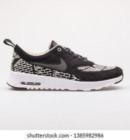 VIENNA, AUSTRIA - AUGUST 23, 2017: Nike Air Max Thea LOTC QS black and white sneaker on white background.