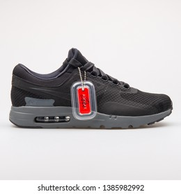 VIENNA, AUSTRIA - AUGUST 23, 2017: Nike Air Max Zero QS black sneaker on white background.